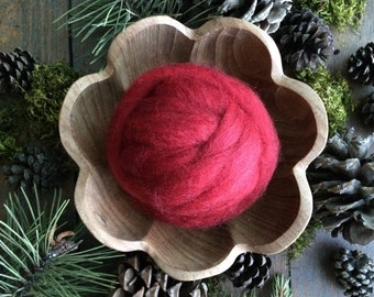Wool roving supply for needle felting, Mushroom Red Heather, 1/2 ounce or 1 ounce, diy felting, red wool roving, red needle felting wool