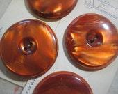 Vintage Coat Buttons; Burnt Orange Plastic 34mm Buttons by Schwanda Buttons, 2 Original Cards, 4 Vintage Coat Buttons