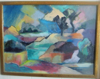 "Vintage 1950's Abstract Impressionist Landscape; Oil on Canvas Board Painting,  by Arthur Ross  (J. Arthur Rosenblum), Utica, N.Y.,  24""x18"""