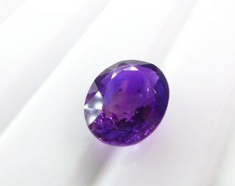 Natural Amethyst Oval Gemstone. Deep Reddish Purple Color. Native Cut. Set Table Down For Rose Cut. 1 pc. 2.04 cts. 7.5x9.5x5 mm  (AM1420)