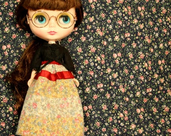 LOST & FOUND Vintage Inspired Patchwork Skirt for Neo Blythe