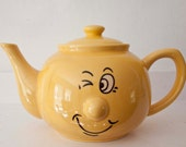 "Vintage Funny Face ""Winking"" Yellow Teapot"