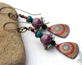 Yearning for India - long, colorful, bohemian dangle earrings with handmade copper charms, lampwork beads, copper earwires, vintage beads