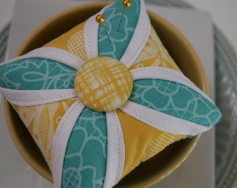 Cathedral Window Pincushion Teal and Yellow Modern