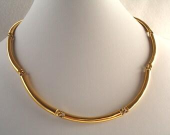 Vintage Napier curved gold link choker, gold necklace, Napier jewelry