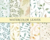 Watercolor leaves digital paper Watercolor digital paper Autumn leaves Leaf pattern leaf print Watercolor papers Digital scrapbook paper