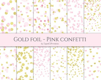 Confetti digital paper Gold and pink confetti Gold and pink digital paper Dot digital paper Heart confetti Wedding digital paper