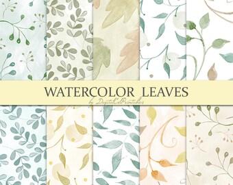 Watercolor leaves digital paper Watercolor digital paper Autumn leaves Leaf pattern leaf print Watercolor papers Digital scrapbook paper