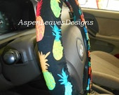 Pineapples on Black, Steering Wheel Cover, Car Decor, Car Accessory, Fabric Steering Wheel Cover,