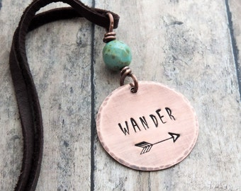 WANDER Pendant Necklace - Travel Jewelry - Wanderlust - Stamped Arrow