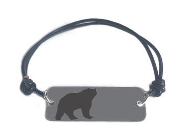 STRENGTH bracelet-  bear symbol- engraved melchior pendant on leather cord