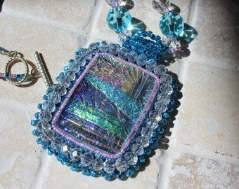 Dichroic glass neckalce, bead embroidery pendant on beaded necklace, glass necklace, glass with bead embroidery, bead embroidery pendant