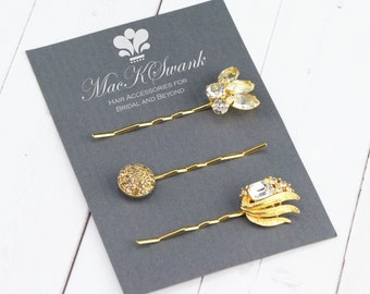 Gold Hair Pin Set - Rhinestone Bobby Pins - Gift for Her - Unique Gift for Her - Something Old Bridal Hair Pins - Gold Pins