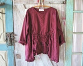 linen top blouse tunic in wine burgundy cranberry ruched with roses
