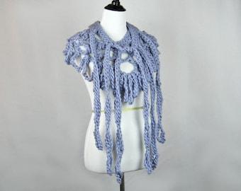 Crocheted Scarf, Chunky Wool Yarn, French Blue, Lacy Ruffled Scarf, Long Tails, Triangular Shape, Handmade, Fashion Statement, Looped Fringe