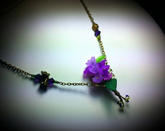 Purple Flower Necklace, Victorian Bouquet Dangle, Amethyst Green Frosted Lucite, Titanic Temptations Vintage Steampunk Bridal Style Jewelry