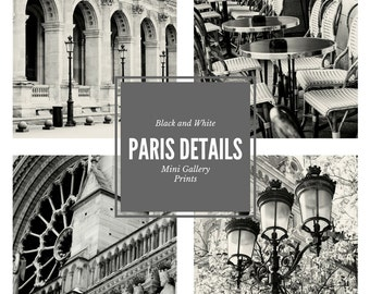 Paris Small Prints - 5x5 Photos - Paris Gallery Wall Photography - Black and White - French Decor - Small Photos - Square Cafe Architecture