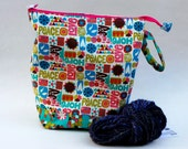Knitting Crochet WIP Project Bag, Medium Drawstring, 60s Love and Peace Mod vintage fabric