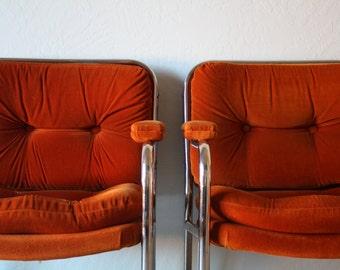 Midcentury Chrome and Orange Arm Chairs Set, Vintage Chromecraft