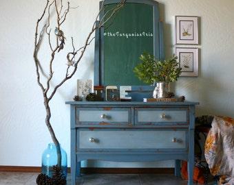 Two Tone Blue Mini Dresser with Mirror