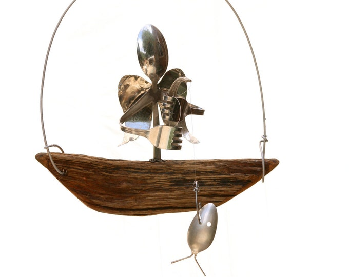 Angel Memorial Wind Chime / Fish Windchime / Metal Yard Art / Angel Sculpture / Outdoor Decor / Memorial Gift, Fisherman / Fishing / Mobile