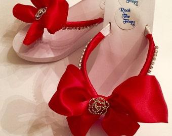 Bridal Flip Flops.Wedding Flip Flops.Red Flip Flops. Wedding Shoes. Bridal Shoes.Bridesmaid Shoes Red Sandals Bridesmaid Sandals Bride Gifts