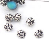 Bali Silver Rondelle Beads for Jewelry Making 6.5mm qty 8
