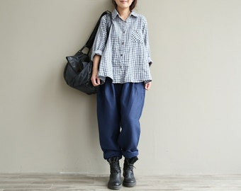 Casual Loose Fitting Comfortable and casual Radish pants - Women Clothing (QK006) - Blue