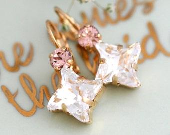Bridal Drop Earrings, Blush Drop Earrings, Blush dainty drop earrings, Bridesmaids Earrings, Swarovski Dangle Earrings, Gift for her
