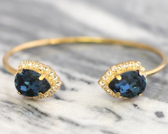 Blue Navy Bracelet, Dark Blue Gold Bracelet, Blue Swarovski Cuff Bracelet, Swarovski Cuff Bracelet, Dual Crystal Bracelet, Bridal Bracelet