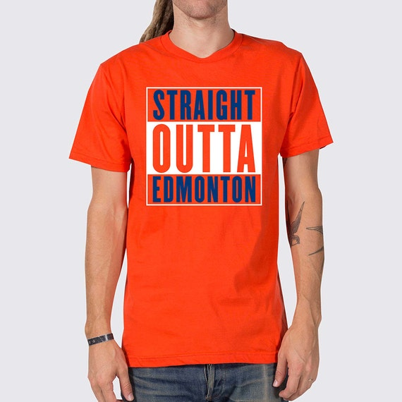 Straight outta edmonton oilers t shirt edmonton by joneallen for Custom t shirts edmonton