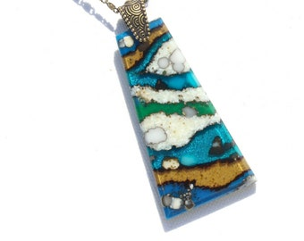 LARGE Fused Glass Pendant, Fused Glass Jewelry, Organic Stone Agate Look, Beach, Sand, Seashore - Tan Blue Green White (Item #10760-P)