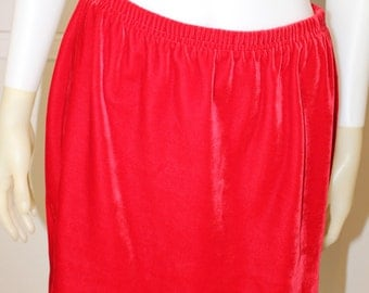Vintage Red Velvet 80's Mini Skirt  M/L