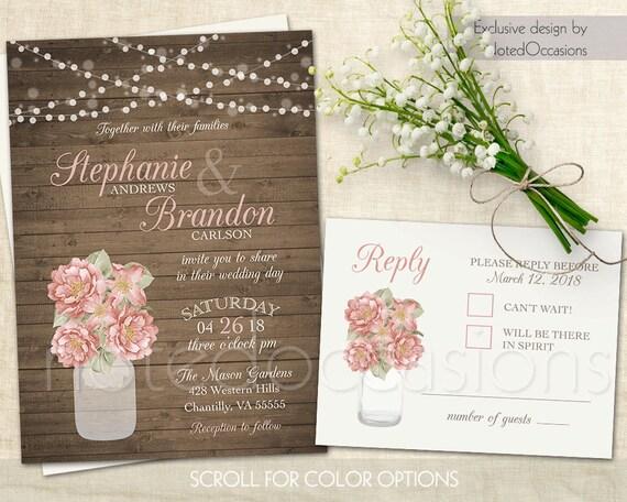 Cottage Mason Jar Wedding Invitation: Rustic Mason Jar Wedding Invitation Suite Rustic Wedding