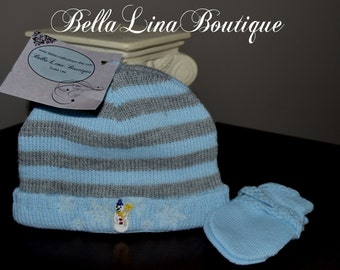 Embroidered Knit AND Cotton Lined Baby Boy Winter Themed Snowman and Mitten Set - Baby Boy Cap and Mittens - NEWBORN - Ready to Ship!