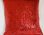 Valentines Day Red Sequin Decorative Pillow 16x16