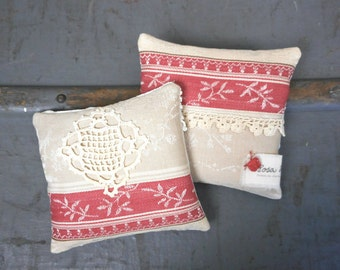 Two Lavender Sachets Vintage French Textiles Organically Grown Handmade French Country Cottage Chic Home Decor Scented Gift for Her