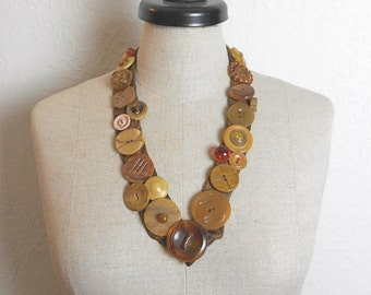 Vintage Button Necklace V Shaped on Silk Tie Fabric Retro Fashion Accessory