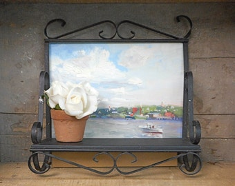 Vintage Wrought Iron Shelf Black Wall Decor Indoor Outdoor Shabby Cottage