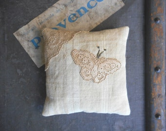 Organic Lavender Sachet Pillow Vintage Textiles Lace Butterfly Scented Home Decor Country French Cottage Chic Handmade Gift for Her