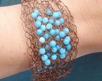 fall sale 2016 HandMade CROCHET COPPER Wire Bracelet With Light Blue Faceted JADE Gemstones
