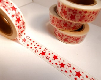 Red Stars Washi Tape - Paper Tape Great for Scrapbooking Paper Crafts and Decorations - 4th of July 15mm x 10m