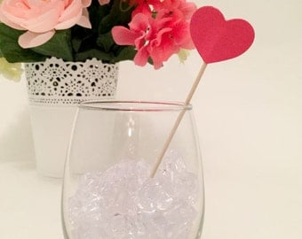 25 Hot Pink Heart topped drink stirrers / stir sticks - Great for Weddings & Showers