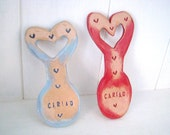 Small Cariad (Love in Welsh) Ceramic Love Spoon. Made in Wales, UK. Unusual wedding favour gift.