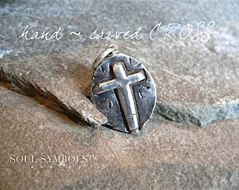 HANDMADE Recycled Silver Rustic Cross Necklace  .  Mens Jewelry . Oxidized Chain OR LEATHER Necklace