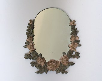 Vintage Syroco Mirror with Carved Wooden Rose Trim