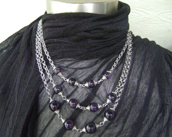 Dark Amethyst Quartz Stone Beaded Tri-Layered Silver Chain Necklace