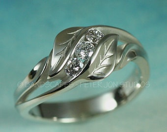 14k White Gold with Diamond, 3-Stone and Leaf Wedding Ring