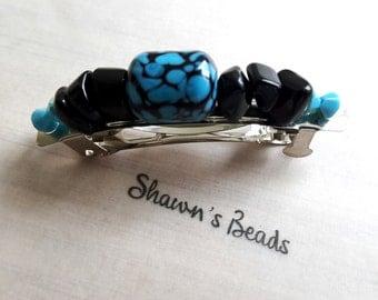 Jazzy Blues Lampwork Glass Bead Hair Barrette