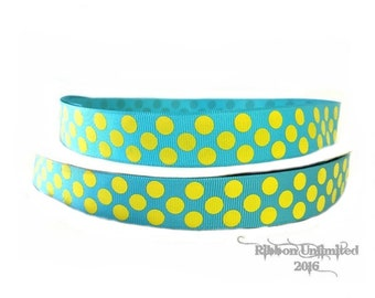 10 Yds WHOLESALE 7/8 Inch Turquoise-Yellow Jumbo Polka Dots grosgrain ribbon LOW SHIPPING Cost